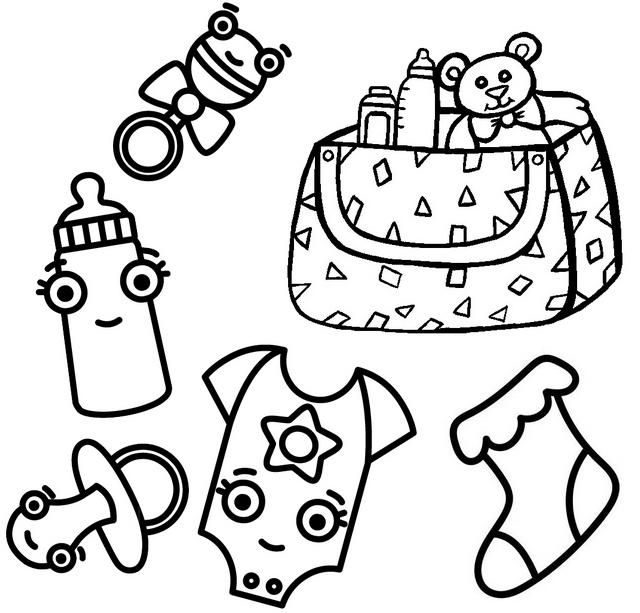 Baby Bag Clothes Toys Coloring Page Coloring Pages Baby Coloring Pages Coloring Pages For Kids