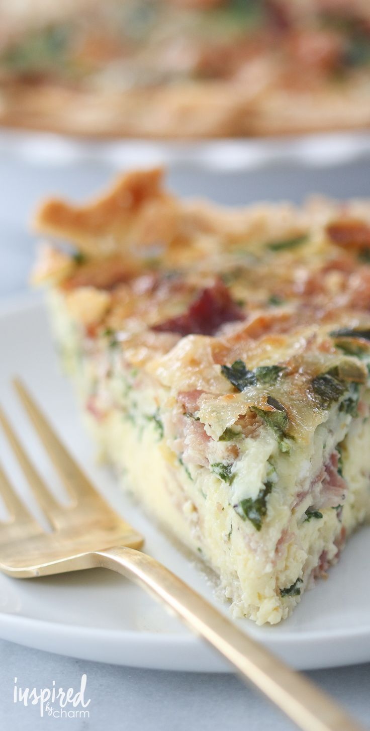 Spinach Bacon Swiss Quiche - my favorite quiche combo. Fabulous for breakfast, brunch, or lunch.