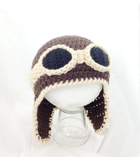 Crocheted baby aviator hat by BitsOfFiber on Etsy, $27.00