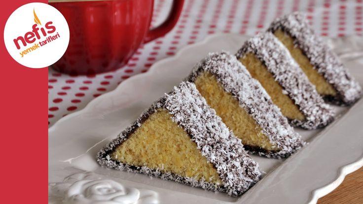 """✿ ❤ ♨ Üçgen Kek Tarifi (sesli anlatım) Görselliğe de önem verenler için harika bir kek tarifi :) (bir de ipucu: benim gibi yumurta kokusunu sevmeyenler hazırladıkları kek hamuruna sadece """"bir tatlı kaşığı"""" da elma sirkesi eklesin, ben denedim gerçekten yumurta kokusunu alıyor)"""