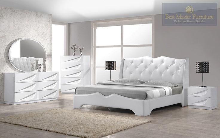 $1600 Best Master Madrid White Lacquer 4 Pieces Platform King Bedroom Set