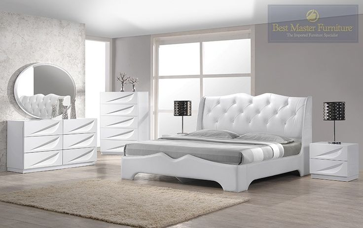 $1600 Best Master Madrid White Lacquer 4 Pieces Platform King Bedroom Set