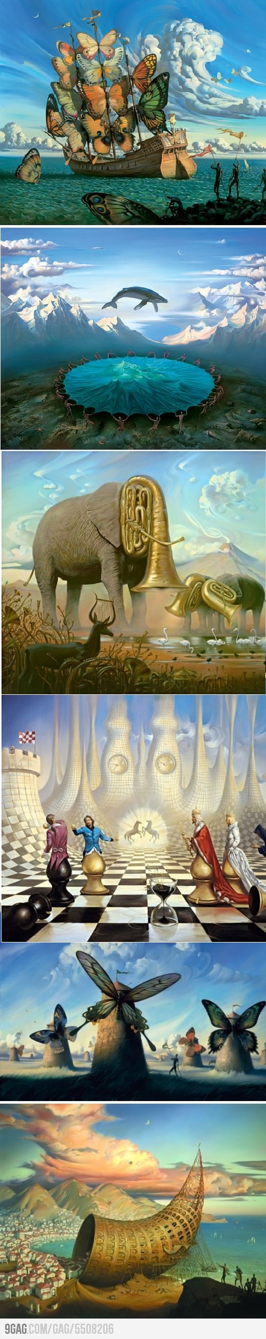 Surrealistic painter: Vladimir Kush  I will be laughing at those tuba elephants forever.