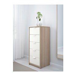IKEA - ASKVOLL, Cómoda de 5 cajones, efecto roble tinte blanco/blanco, , Esta cajonera alta ofrece mucho espacio para guardar cosas y ocupa poco.Los cajones, fáciles de abrir y cerrar, llevan topes.