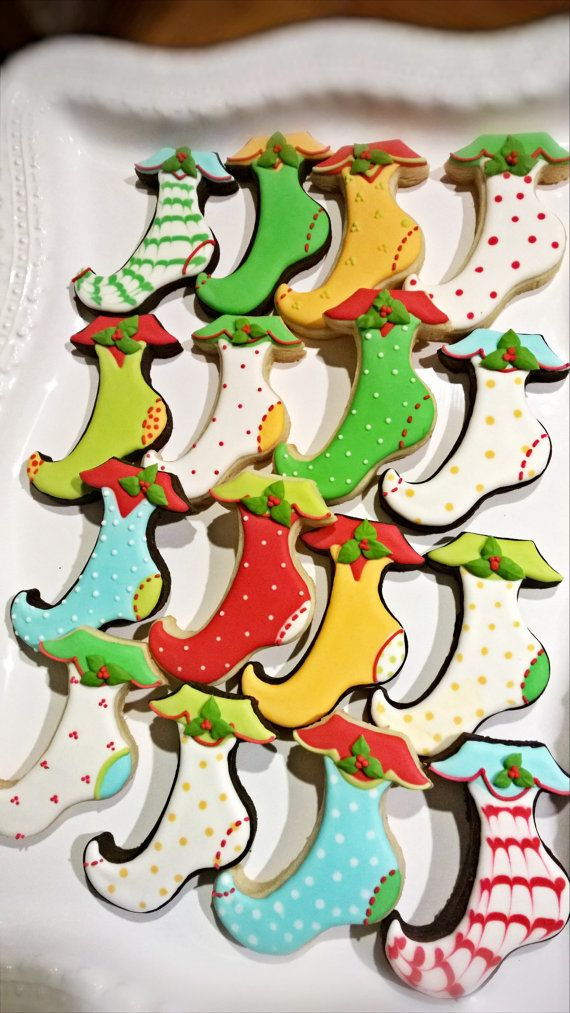 Christmas Stocking Cookies-2 dozen-classic design elf stocking with holly