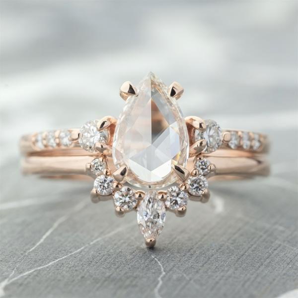 .82 Carat Clear Pear Diamond Eliza Engagement Ring, 14K Rose Gold
