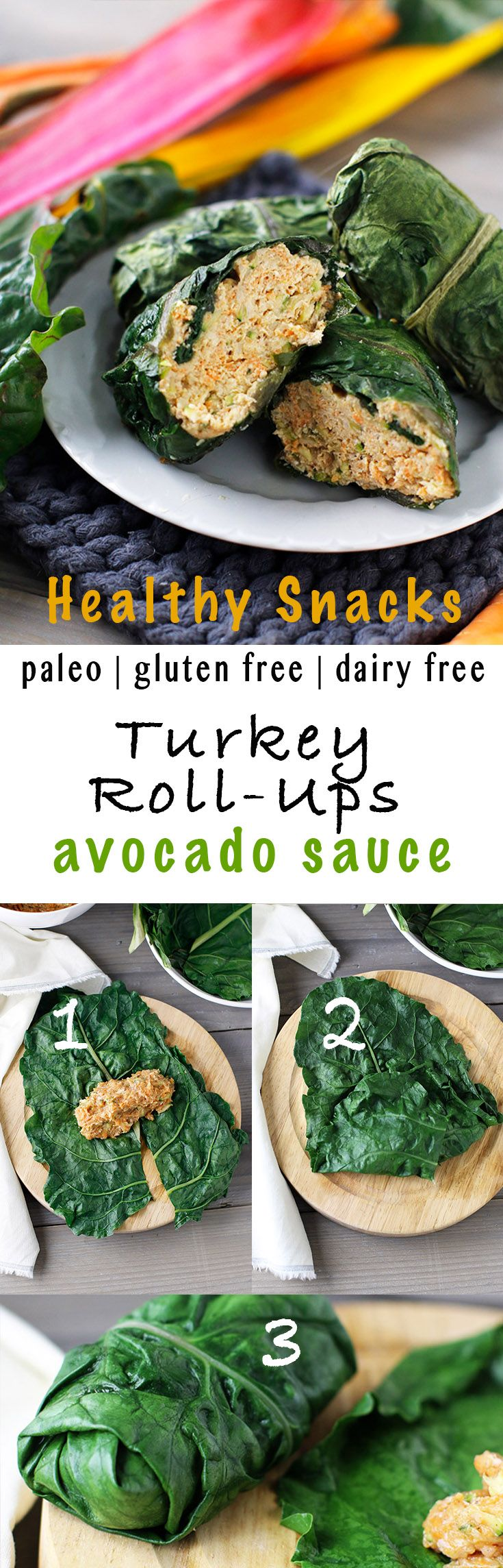 Turkey roll-ups wrapped in chard leaves and stuffed with shredded carrots, zucchini and seasoned with Asian flavors! Then served with a creamy avocado dipping sauce.