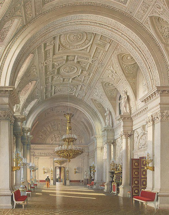 Interiors of the Winter Palace. The White Hall.