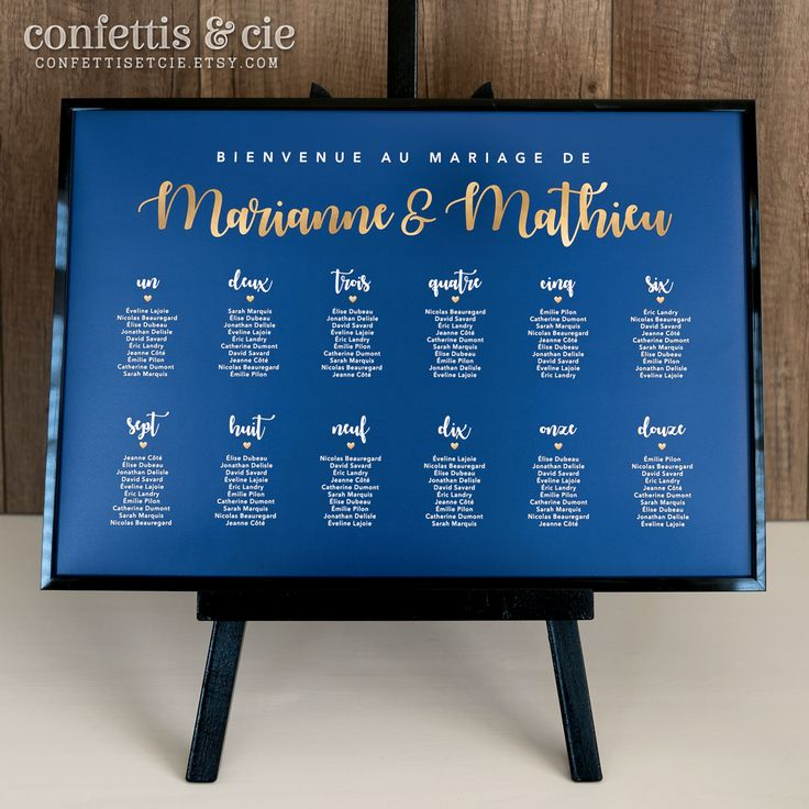 Tableau des invités/Plan de salle pour mariage / Disponible dans la boutique Etsy