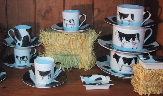 charger; dinner plate, dessert plate and coffee set hand painted - black and white- cottage - farm.,llttle cows Fragile Creation by Patricia Deroubaix  hand painted on Limoges porcelain