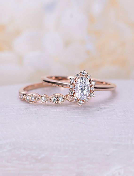 Moissanite engagement ring Art Deco Vintage engagement ring set Oval cut rose gold diamond halo wedding Bridal Anniversary