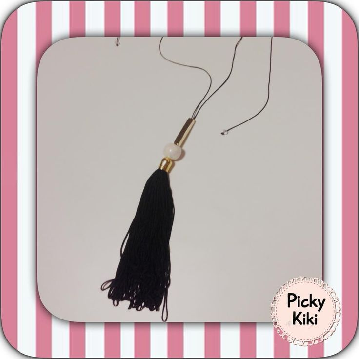 Handmade long pendant with black cord, clasp adjustable macrame knitting, a white porcelain bead, a golden rod and a long black tassel | Fall-Winter Collection 2015-'16 | Picky Kiki