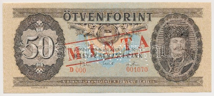 Hungary 1969. 50 Forint with MINTA (specimen) overprint / perforation and B 000 - 001070 serial number C:UNC  Adamo F20Ma  Dealer Darabanth Auctions  Auction Minimum Bid: 4000.00 HUF (app. 15 EUR)