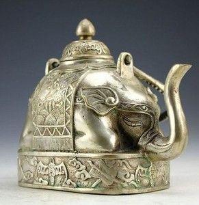 Chinese Rare MIAO Silver Elephant Tea Pot