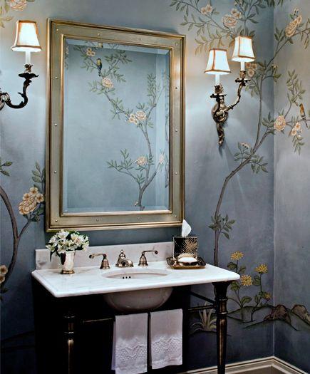 The hand painted walls and mixture of new and old make this powder room a hidden gem. Photo by Justin Maconochie. Rariden Schumacher Mio  Co Rariden Schumacher Mio - Birmingham, MI
