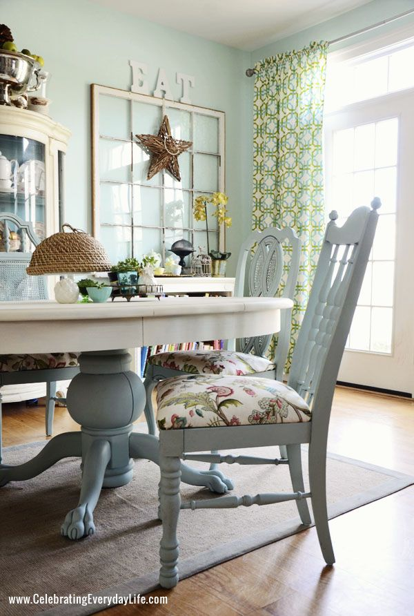 Dining Room Table and Chairs Makeover - I'd paint the entire table white. Love the white and robin's egg blue combo.
