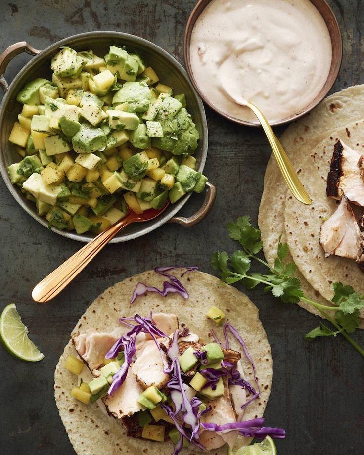 Chipotle Salmon Tacos with Avocado Mango Salsa  from www.whatsgabycooking.com (@whatsgabycookin)