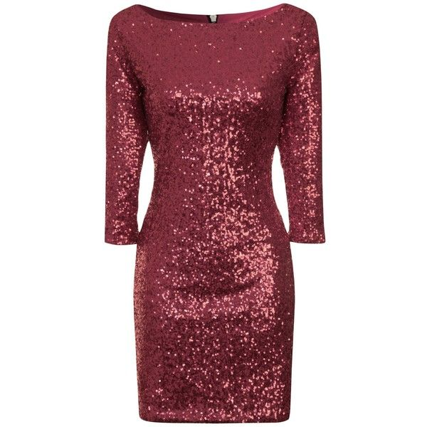 True Decadence Bodycon Sequin Midi Dress , Burgundy ($53) ❤ liked on Polyvore featuring dresses, short dresses, burgundy, three quarter sleeve dress, maxi dress, 3/4 sleeve dress, red maxi dress and red dress