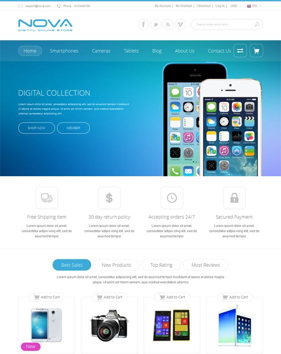This Bootstrap Magento template includes a responsive layout, a banner slider, 5 preset color schemes, Google Fonts, Font Awesome icons, Ajax add to cart, compare, and wishlist, Cloud Zoom, 2 menu styles, Twitter integration, and more.