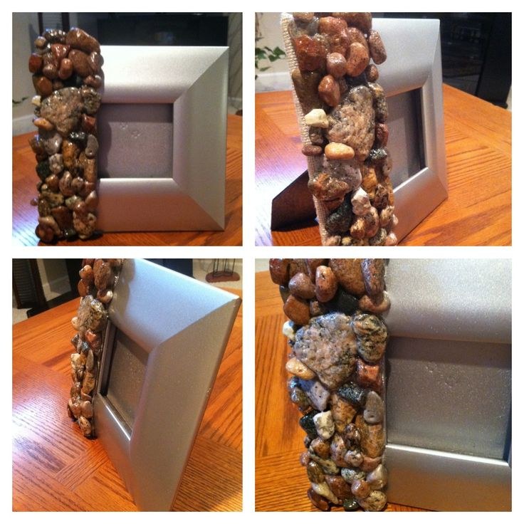 Diy handmade stone picture frame all stones are from the for Diy stone projects