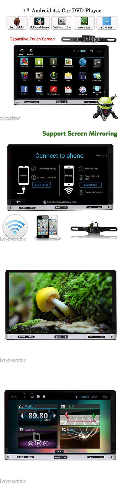 Vehicle Electronics And GPS: Android4.4 7 Double 2Din Car Stereo/Radio Gps Wifi 3G Bt Dvd Player+Free Camera -> BUY IT NOW ONLY: $158.98 on eBay!