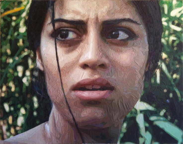 """Ramazan Bayrakoğlu, """"AYLIN"""", (194x156 cm.) ,fabric,sewing on canvas, 2015"""