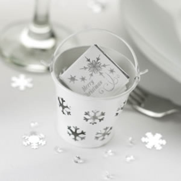 white snowflake favour pails set of a wedding less ordinary