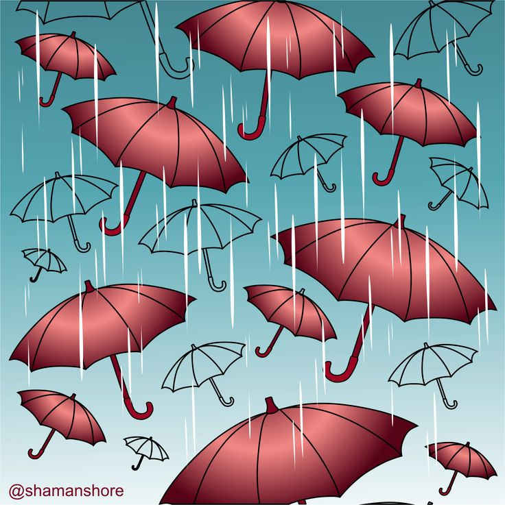 Colored sample page with umbrellas under the rain. This page is from an adult coloring book of easy coloring prints for beginners. Almost free coloring book to download and print at home. Pdf file, high resolution