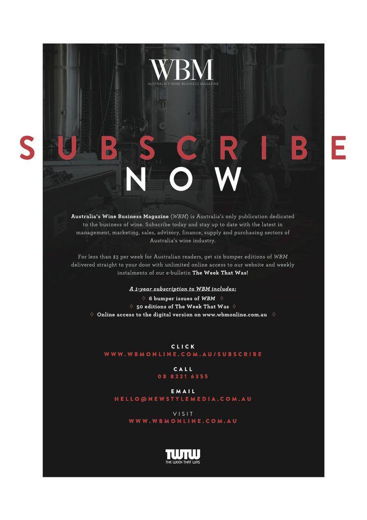 WBM Magazine January/February 2016 edition, subscriptions page.