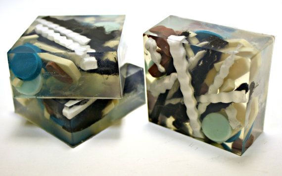 Fun glycerin soap with shapes - blues, teals, ivory, tan and black