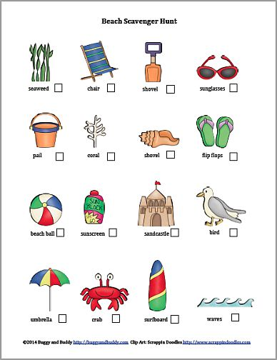 Beach Scavenger Hunt (Free Printable) from Buggy and Buddy - could also be used for colouring in before hitting the beach