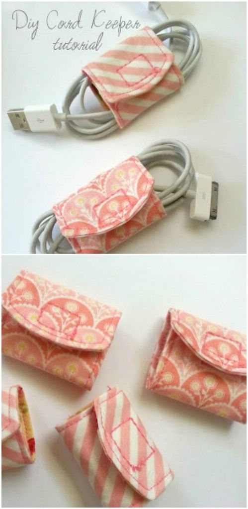 Cord Keeper-ou know you want to keep those cords tucked away safely, and this easy to make cord keeper lets you do just that, and while using up some of those fabric scraps you have laying around.