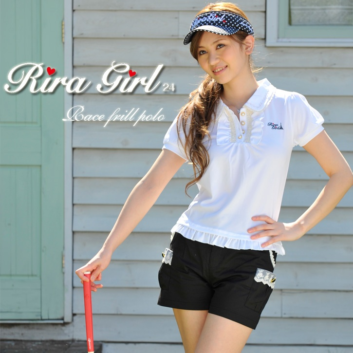 Lace frill polo shirt for golf