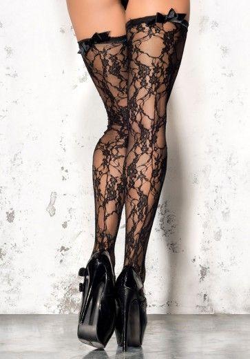 Black Floral Lace Stockings