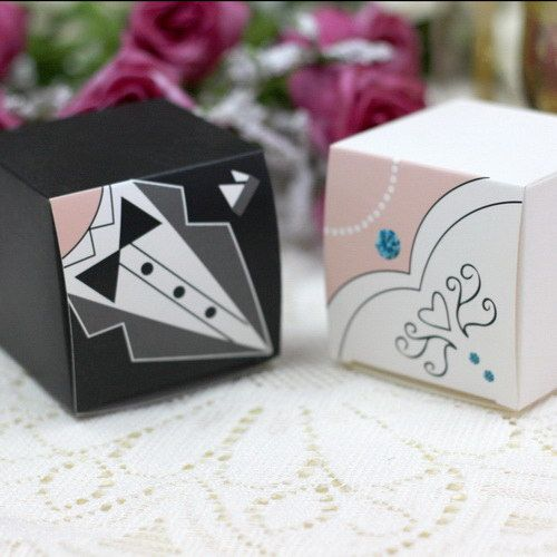 White brideal dress and black groom suit wedding favor boxes Sold by set, price for per piece. (For 50 sets please choose 100pcs) Size: 2.3*2.3*2.3in Assembly required. As low as $0.44