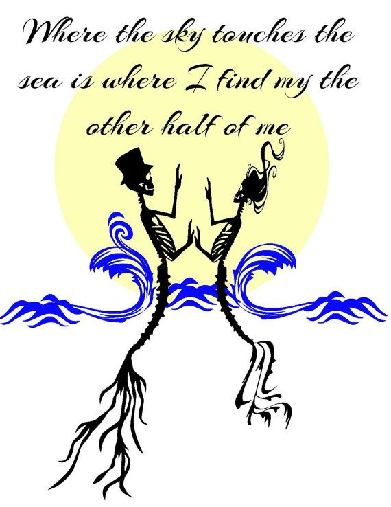 Skull sunset mermaid skeleton love waves SVG Instant by Niwid