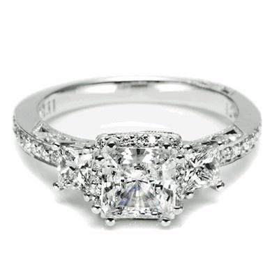 diamond engagement ring, Threestone Princess Cut Diamond Engagement ring from Tacori