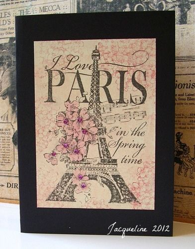 handmade card ... Paris ... Stampendous collage stamp ... like the black base ... dramatic backdrop ... lovely card ...