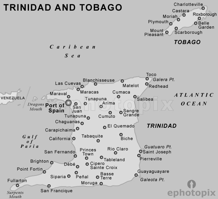 Trinidad and Tobago Map black and white