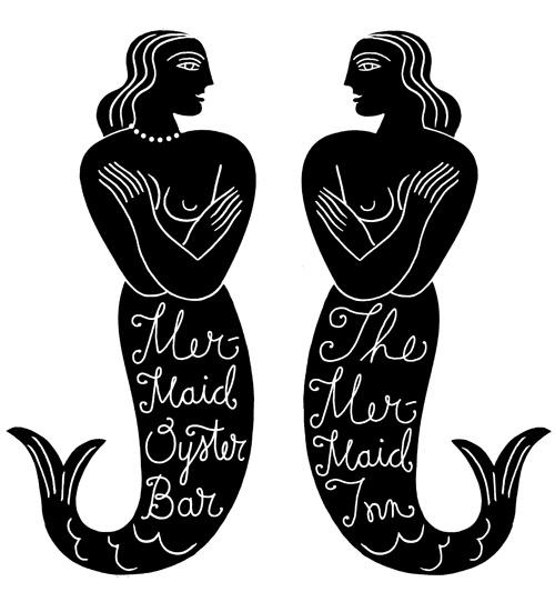 Louise Fili. #restaurant #logo #design - The Mermaid Inn - NYC