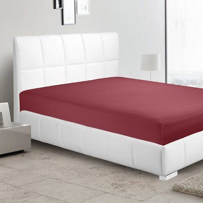 Ebern Designs Garrison 1800 Thread Count Fitted Sheet Size: Twin-XL, Color: Burgundy