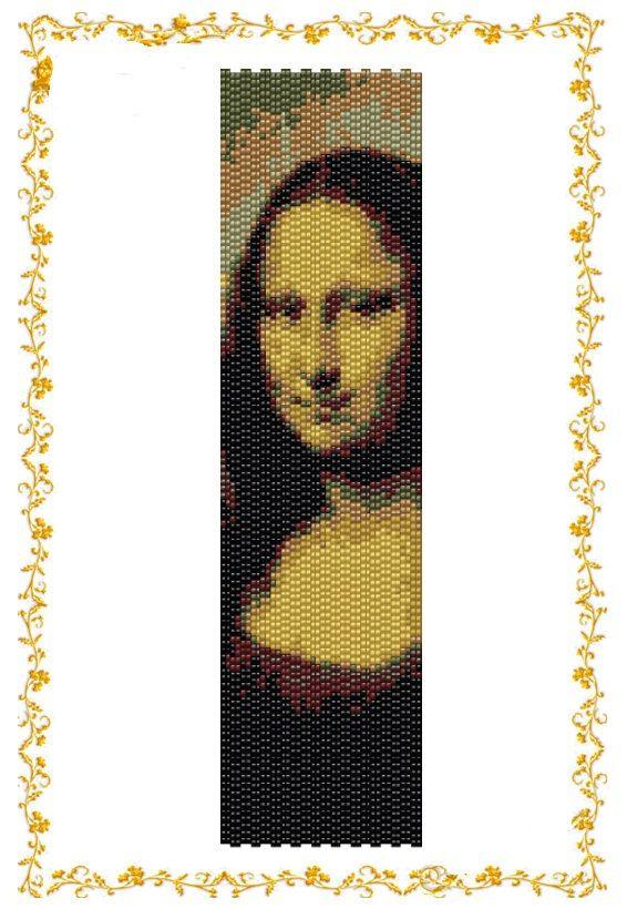 Схема браслета Мона Лиза. Шаблон для делики №11.  Размеры: 7,61 дюйма (110 ряда) на 2,12 дюйма (40 бисерин в ширину)  Метод плетения: двойной
