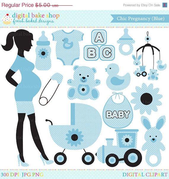 50% OFF SALE pregnancy pregnant baby clip art clipart digital - Chic Pregnancy Digital Clip Art (Blue)