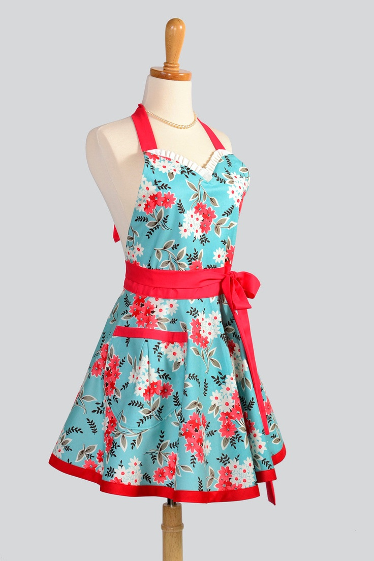 White apron tape - Sweetheart Retro Apron Flirty Retro Womens Apron Turquoise Red And White In Flea Market Fancy