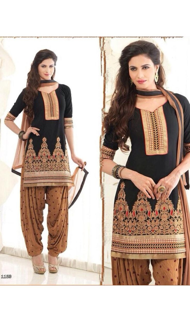 Black Resham Work Patiala Salwar Suits