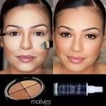 """Motives cosmetics """"Color Perfection Quad"""" in """"MEDIUM."""" Lightest color to highlight & darkest color to contour. Blended altogether using medium color on palette. Mineral pressed powder in """"Biege"""" to set & added mineral dual foundation in """"Medium Light"""" to add over contour. """"BabyDoll"""" blush to cheeks & highlighted cheekbones w/ """"Liquid Gold Shimmer."""" Makeup set w/ """"10 Years Younger"""" Makeup Setting Spray. Used """"CINNAMON"""" lipliner & Motives Pucker Up Lip Plumper"""