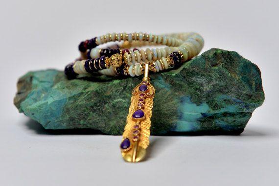 Australian Opal Necklace Long Mala Necklace White Necklace