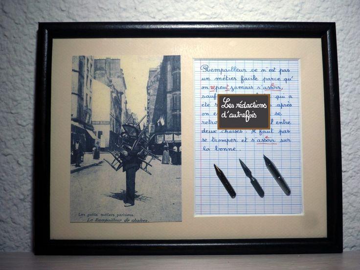 Le rempailleur tableau rétro humoristique écrit à la plume avec photo ancienne sur les métiers d'autrefois : Décorations murales par redactions-d-autrefois