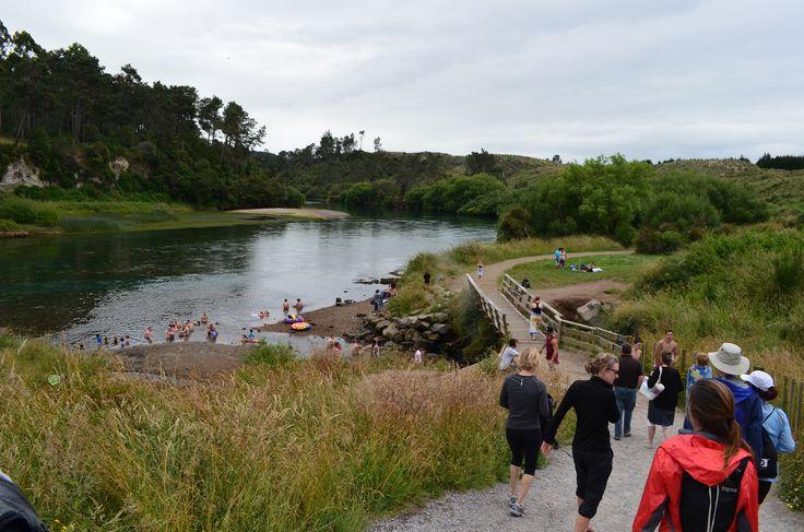 Hiking along the Waikato River towards Huka Falls.