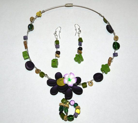 Necklace and earrings Wild Nature by CreationsBella on Etsy, $30.00